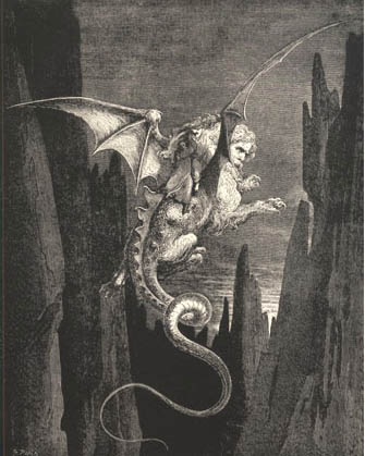 The Descent to the Abyss on Geryon's Back, Gustave Dore art print