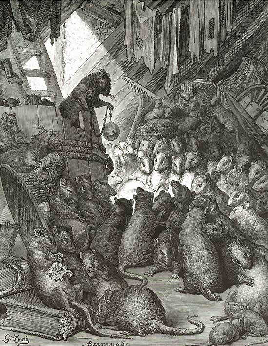 To Bell the Cat.  Gustave Dore art print