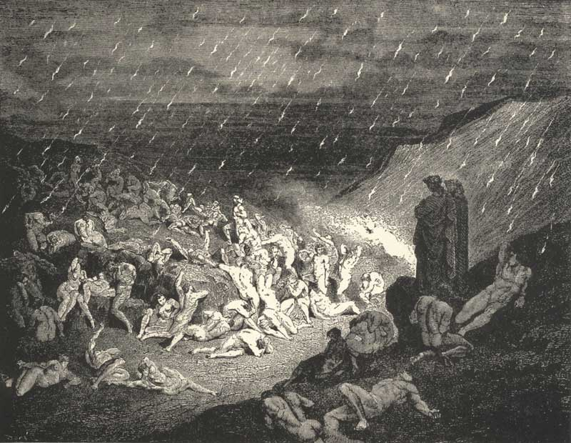 The Divine Comedy: The Violent Tortured in the Rain of Fire. Gustave Dore art print