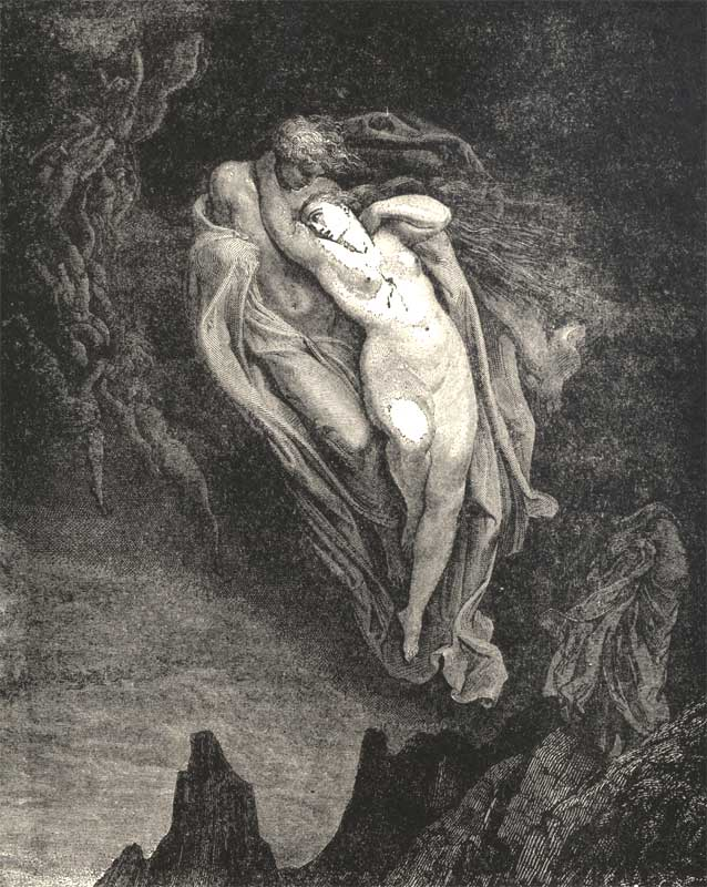The Unfortunate Love of Paolo and Francesco, Gustave Dore art print