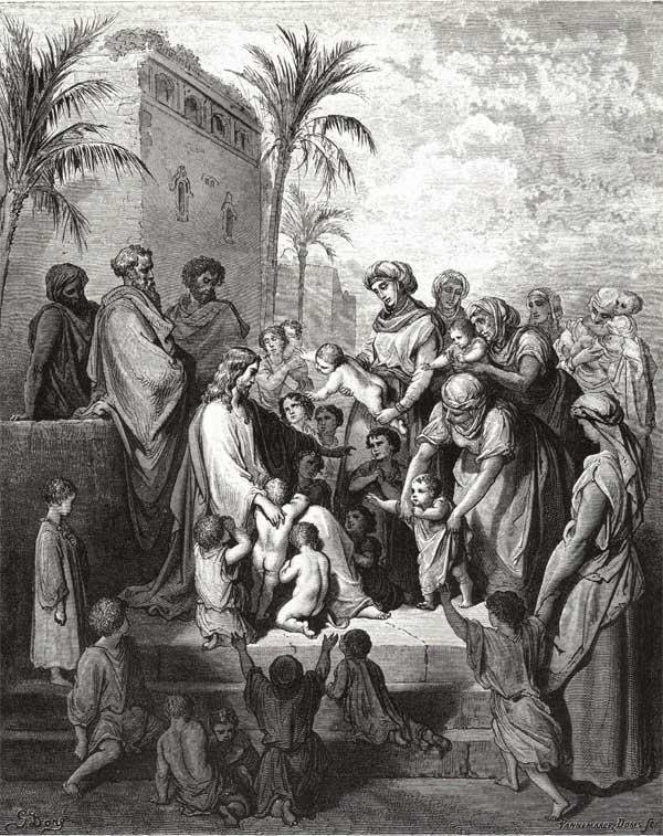 Suffer Little Children to Come unto Me. Gustave Dore art print
