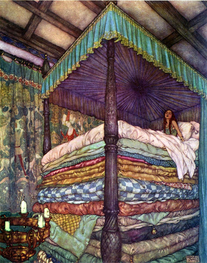 The Real Princess (Princess and the Pea). Illustration to Edmund Dulac's Picture Book for the Red Cross -  by Edmund Dulac