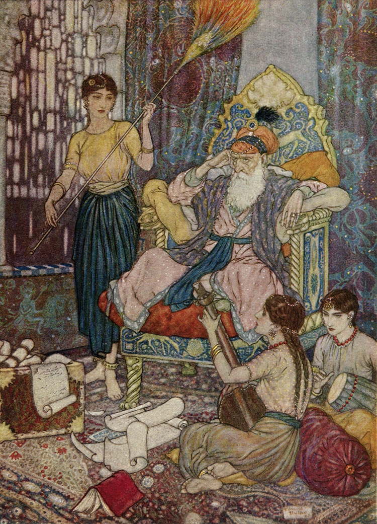Peace to Mahmud on his Golden Throne, by Edmund Dulac illustration to The Rubaiyat