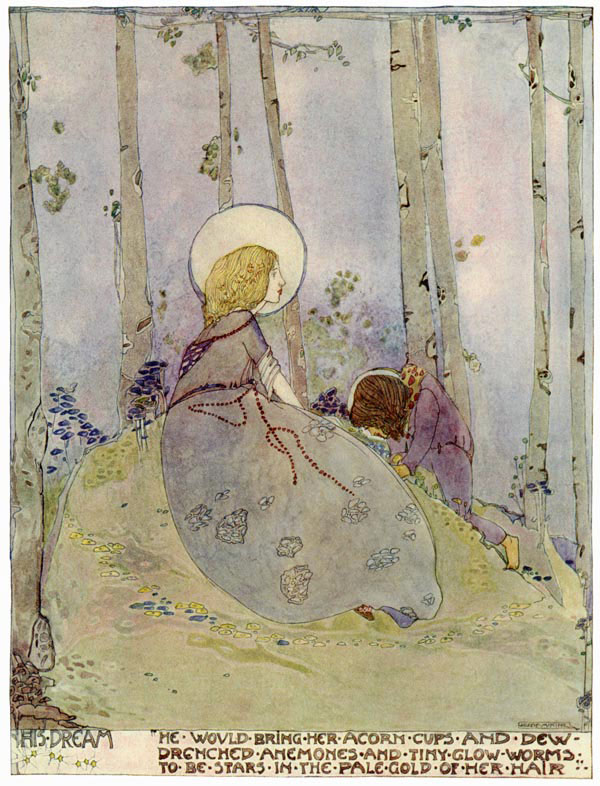 The Dwarf's Dream: He would bring her acorns and cups of dew and drenched anemones to be stars in teh pale gold of her hair.  From The Birthday of the Infanta by Ocar Wilde,  illustration by Jessie Marion King