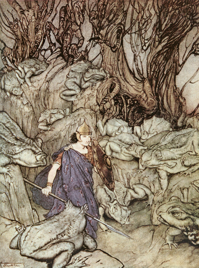 Becuma of the White Skin: Surrounded by Giant Toads, Arthur Rackham, Irish Fairy Tales