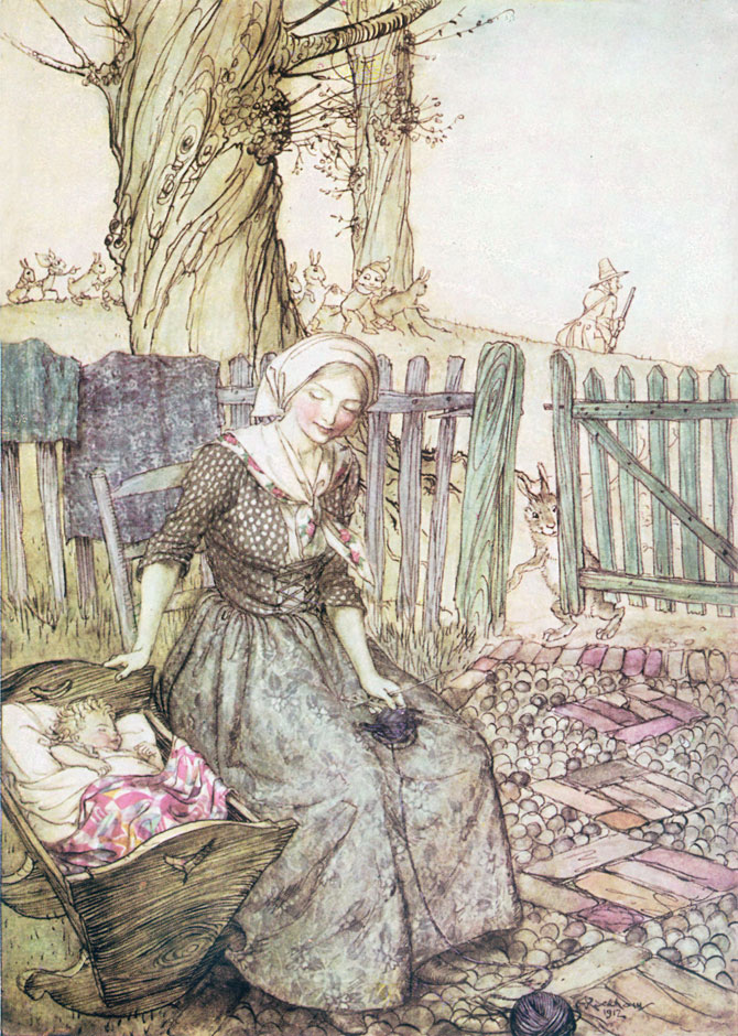 'Bye, baby Bunting, Daddy's gone a-hunting, To Fetch a pretty rabbit skin To wrap our baby Bunting in. Arthur Rackham, Mother Goose