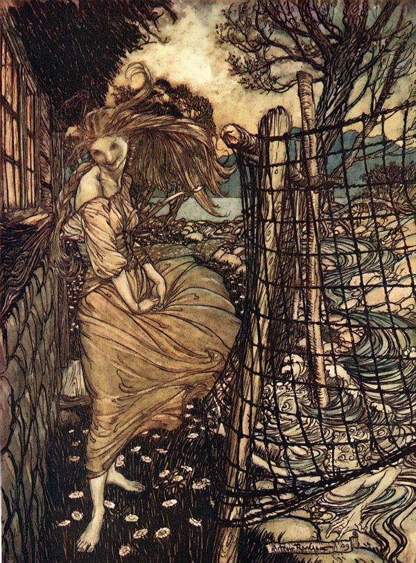 Undine at the Window, Arthur Rackham, Undine